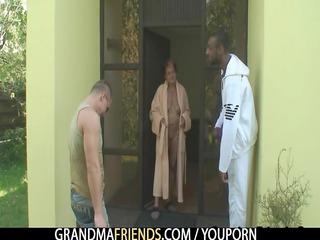 mixed three people bunch gang bang with granny