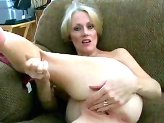 busty blonde milf shows her kitty and later