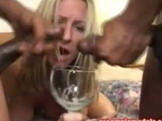 cum hungry woman gulps white cream