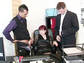 cougar office bitch enjoys two cocks