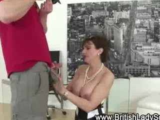 stockinged cougar bitch close up bj