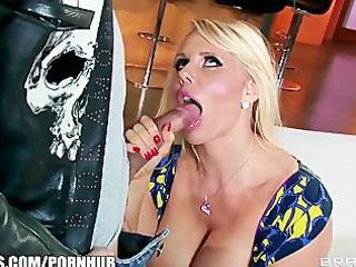 busty bleached chick karen fisher is slammed on