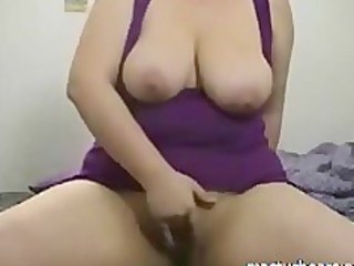 busty bbw chick lora riding sex toy on cam