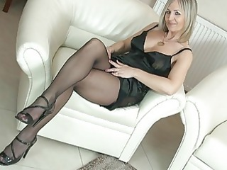 hot blonde grown-up chick into pantyhose uncovers