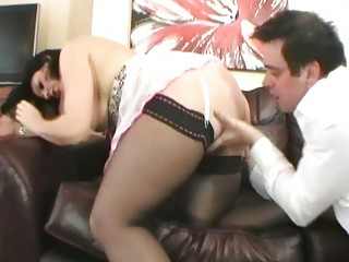classy european brunette milf drilled on the couch