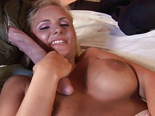 pretty blond mature babe does blowjob and is