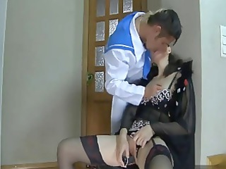 3 scenes with desperate ladies pierced into stairs