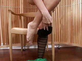 beautiful milf in stockings strips and masturbates