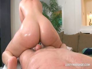 large ass chick jumps and tugs her masseurs libido