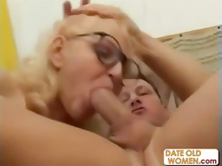 bleached grandmother mouths a fresher cock and