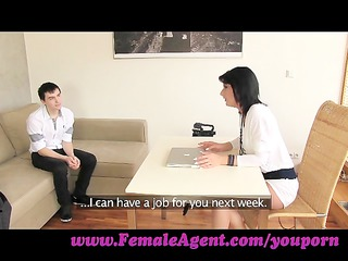 femaleagent. mature girl casts young, nervous stud
