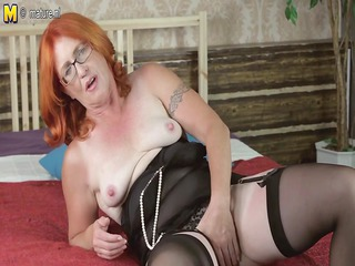 pure grandmother dildoing with her unshaved