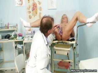 dirty nurse inserting a pale grandma part5