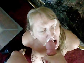 albino lady gets jizzed all over her physiognomy