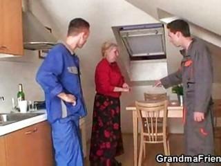 two repairmen bang naughty grandma from both ends