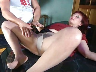 lewd mom with stockings tights plump under