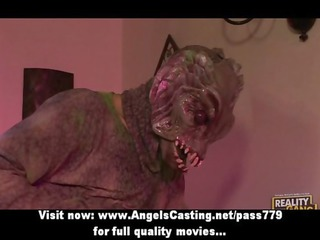 sexy brunette slut having mixed porn with an alien