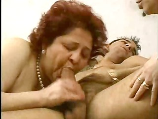 2 grandmas enjoy a hunk and his cock.