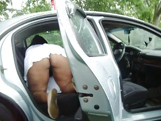 my lady cleaning the car