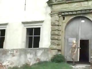 blond elderly outside
