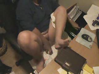mummy masturbating watching a porno at computer