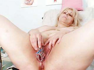 naughty albino grownup lady at gyno exam