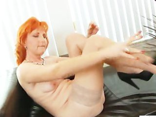 red-haired mature babe porn toys hairy slit