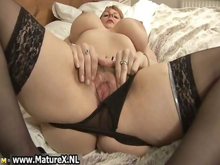 big breast mature with black nylons