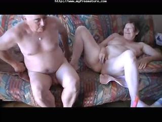 rubbing her clit and penetrating older elderly