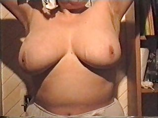 my wife showing her big chest