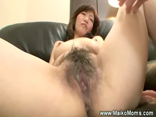 pushing dildo with mature japanese bush