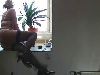 mature milf woman furry blonde casting stockings