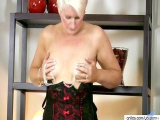 horny girl into lingerie bangs her beads