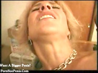 bleached cougar enjoys vibrators ass and swallow
