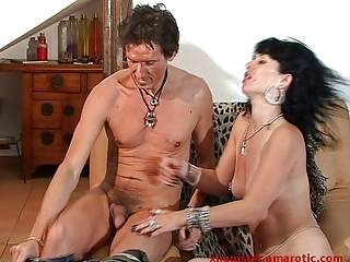 tough bi triple with awesome milf and 2 dudes - 1
