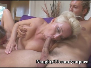 lady takes two cocks!