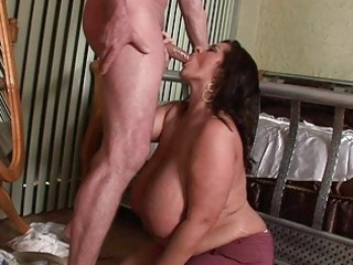 lusty super breasted belle angel blows a heavy