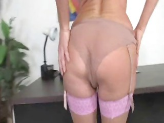 hot albino woman into thigh high nylons gets