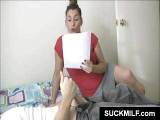 brunette lady studies some papers and next gives