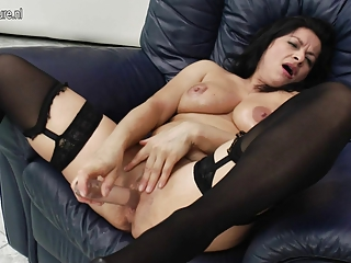 naughty housewife mother riding her vibrator