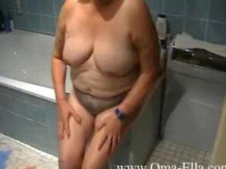 elderly enjoying inside the shower
