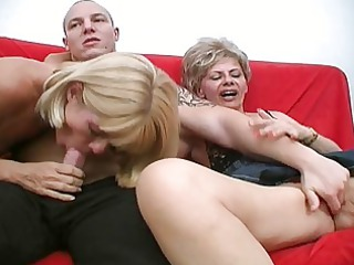 two horny grown-up bitches share one strong penis