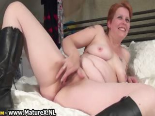 older lady laying on the bunk and rubbing part4