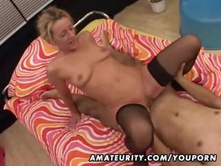 elderly fresh maiden sucks and bangs a brown penis