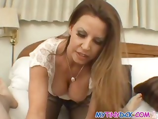 beautiful brunette angel goes down on