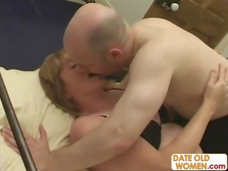 old grandma pleased and gangbanged by two old