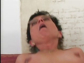 gangbanged granny into glasses and pantyhose