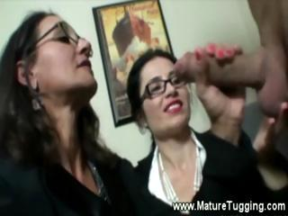 two nylons putting on woman like tugging