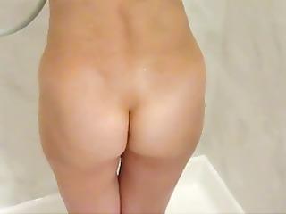 shy babe caught into bathroom
