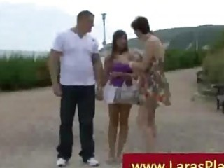 grown-up angel picks up couple to copulate